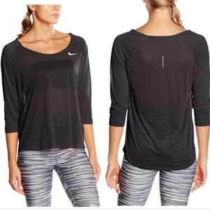 Nike Dri-Fit Cool Breeze Black 3/4 Sleeve Top